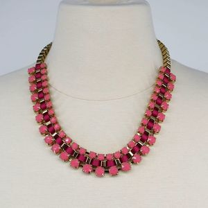 Golden pink ribbon statement necklace fashion